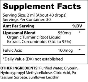 Liquid Turmeric Fact Panel